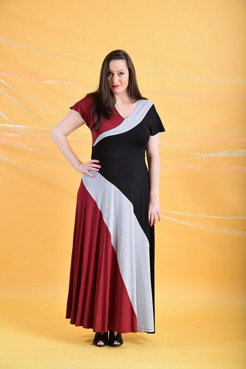 שמלת סופיה מקסי שחור בורדו