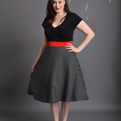 שמלת רוני שחור נקודות קטנות
