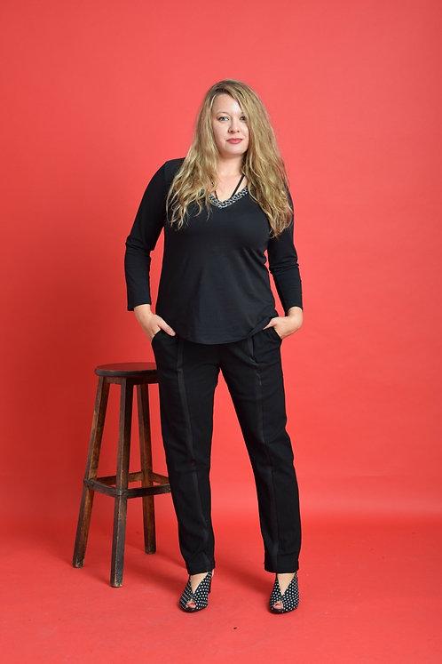 מכנסי אלניס שחורים בשילוב שחור