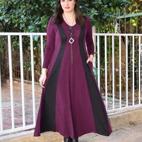 שמלת שמש חורפית סגול שחור