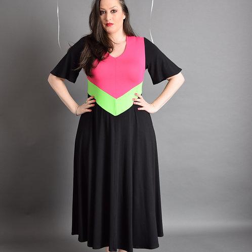 שמלת יערית מקסי ורוד ירוק שחור