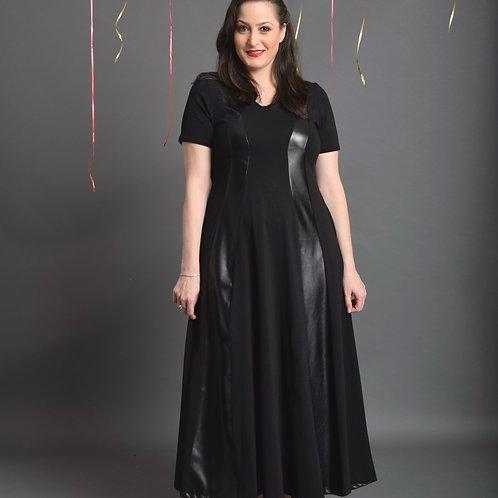 שמלת שמש חורפית מקסי שחור בשילוב דמוי עור