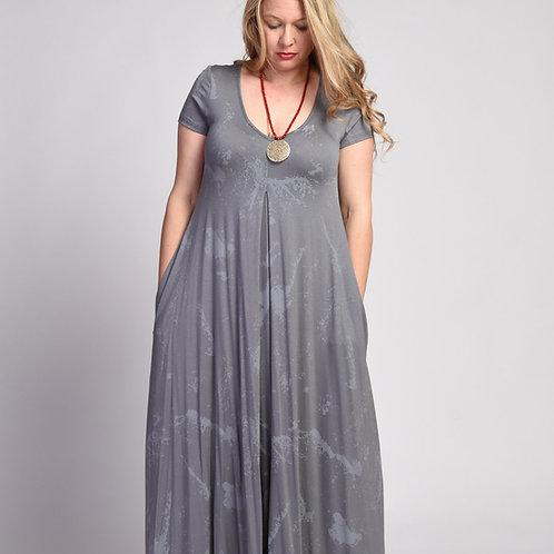 שמלת איריס מקסי אפור שפריץ