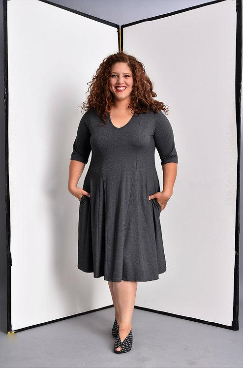 שמלת אנג׳לה אפור מלאנז׳