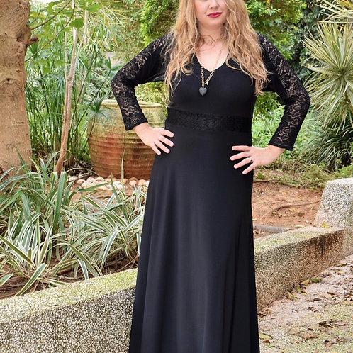 שמלת רוני ערב מקסי שחורה