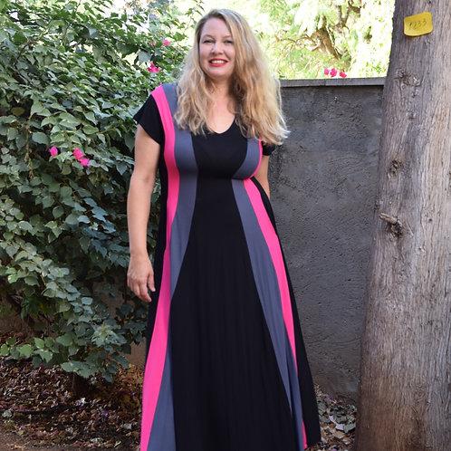 שמלת שמש מקסי שחור אפור פוקסיה