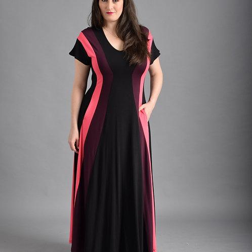 שמלת שמש מקסי שחור סגול ורוד