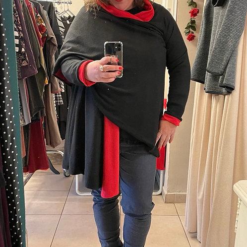 מעיליונית שחור בשילוב אדום