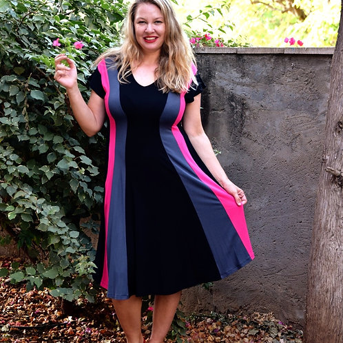 שמלת שמש שחור אפור פוקסיה