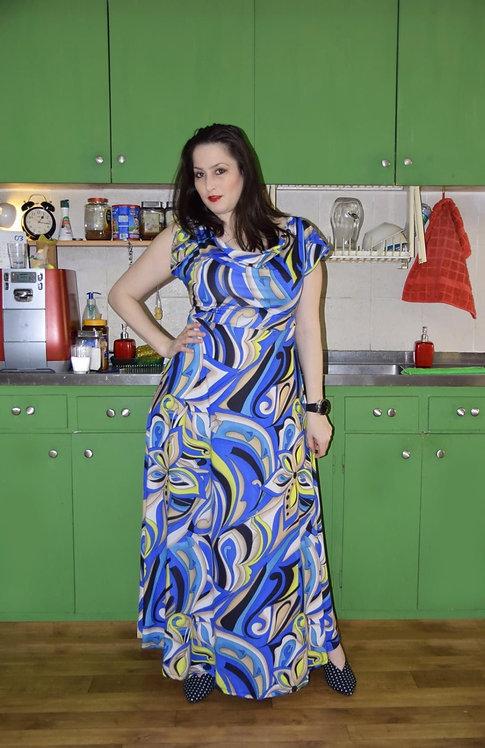 שמלת פריס מקסי כחול דוגמא