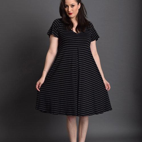 שמלת איריס שחור פסים דקים לבנים
