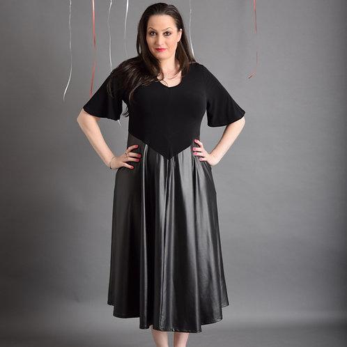 שמלת יערית מקסי שחור בשילוב דמוי עור