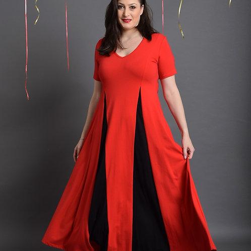 שמלת אנג'לינה מקסי אדום שחור
