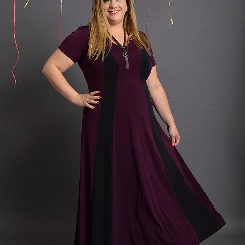 שמלת שמש חורפית מקסי סגול שחור