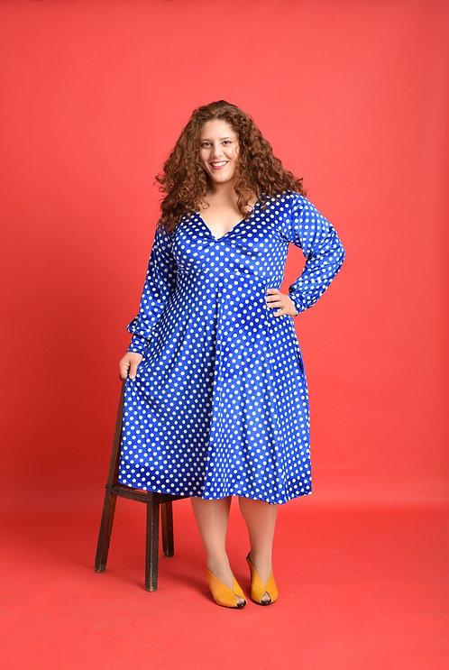שמלת הלה קטיפה כחול נקודות
