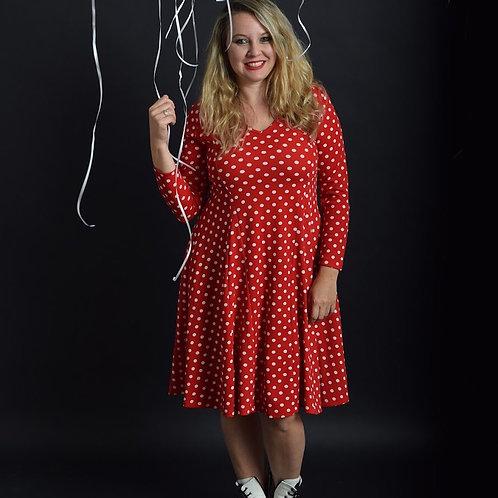 שמלת אנג'לה אדום נקודות