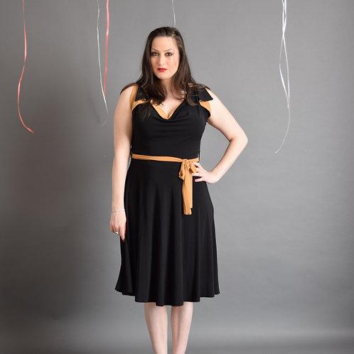 שמלת פריס שחור בשילוב חרדלי