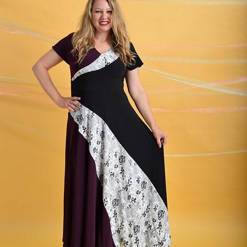 שמלת סופיה מקסי שחור סגול לבן