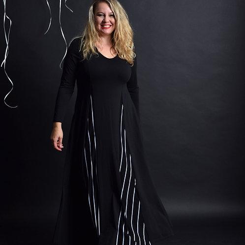 שמלת אנג'לינה מקסי שחור פסים