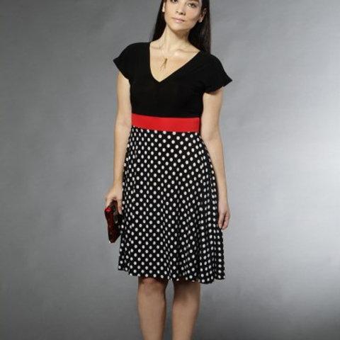שמלת רוני שחור נקודות