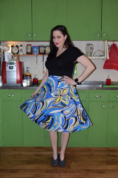 שמלת רוני שחור וכחול דוגמא