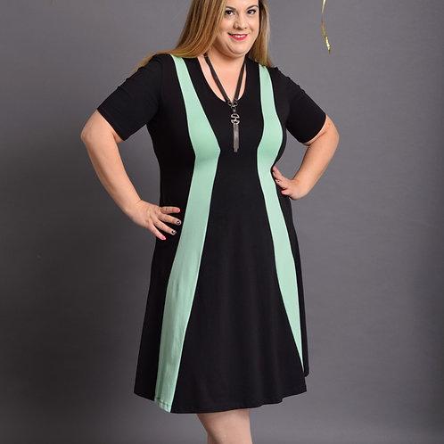 שמלת שמש חורפית שחור מנטה