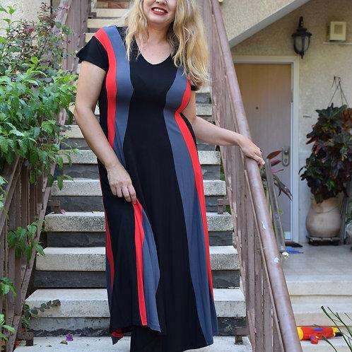 שמלת שמש מקסי שחור אפור אדום