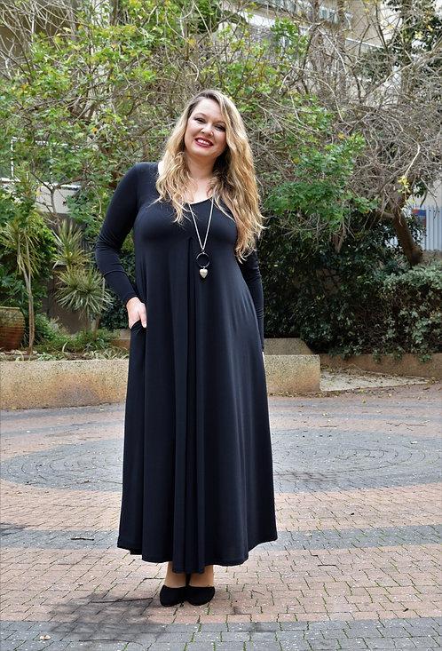 שמלת איריס מקסי שחורה