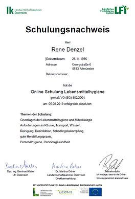 Hygiene - Schulungsnachweis 2019