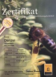 Zertifikat GOLD - Blüten- mit Waldhonig 2019