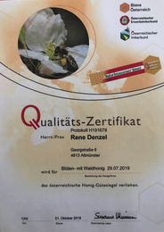 ÖIB Qualitäts-Zertifikat - Blüten mit Waldhonig 2019