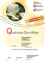 ÖIB Qualitäts-Zertifikat - Cremehonig 2020