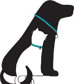 Brudine Veterinary Hospital logo featuring a black dog and a white cat