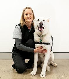 Georgina Earl, Veterinary Nurse at Brudine Veterinary Hospital with her White Swiss Shepherd dog called Bandit