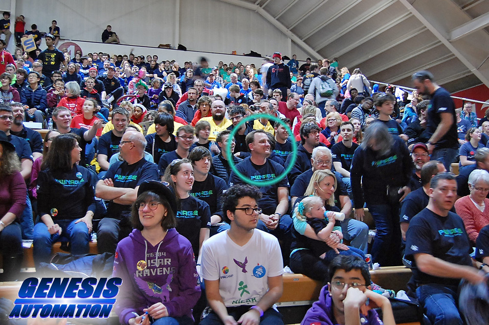 Caldwell and PWNAGE supporters at regional robotics competition