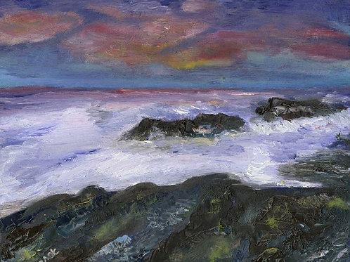 Sea Life Painting - Rocks at Sunset
