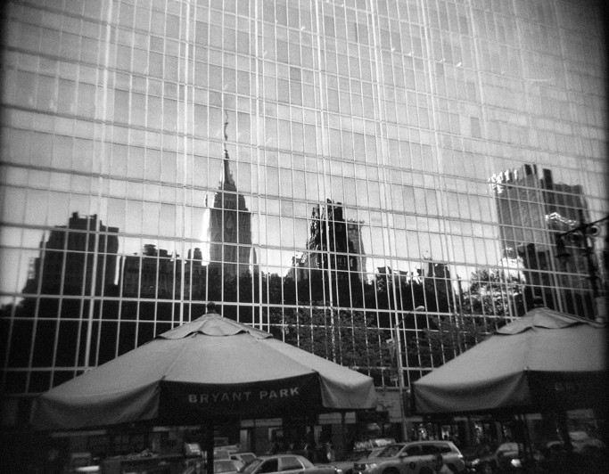 Empire State Bldg reflection at Bryant Park