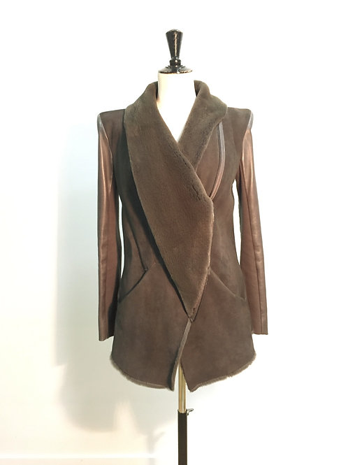 Coat anthracite with mink inside
