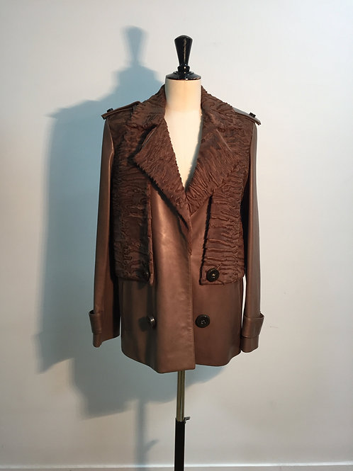Coat with astrakhan brown