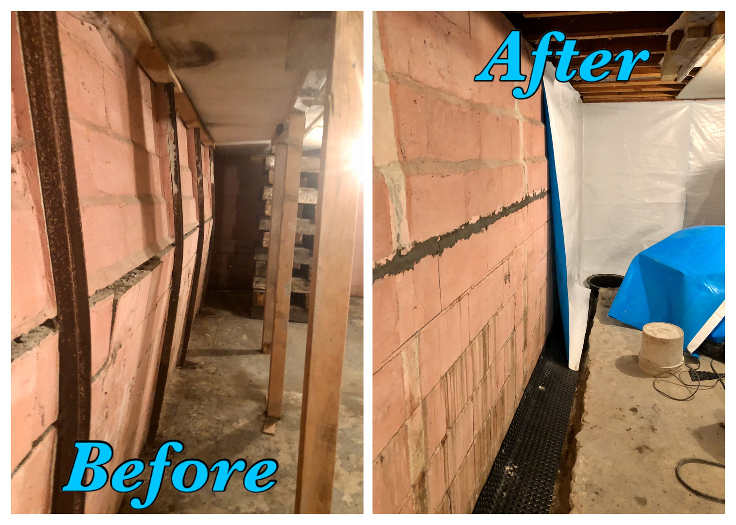 Bowed Wall Before and After