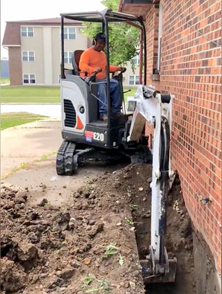 Exterior excavations for foundation repair.