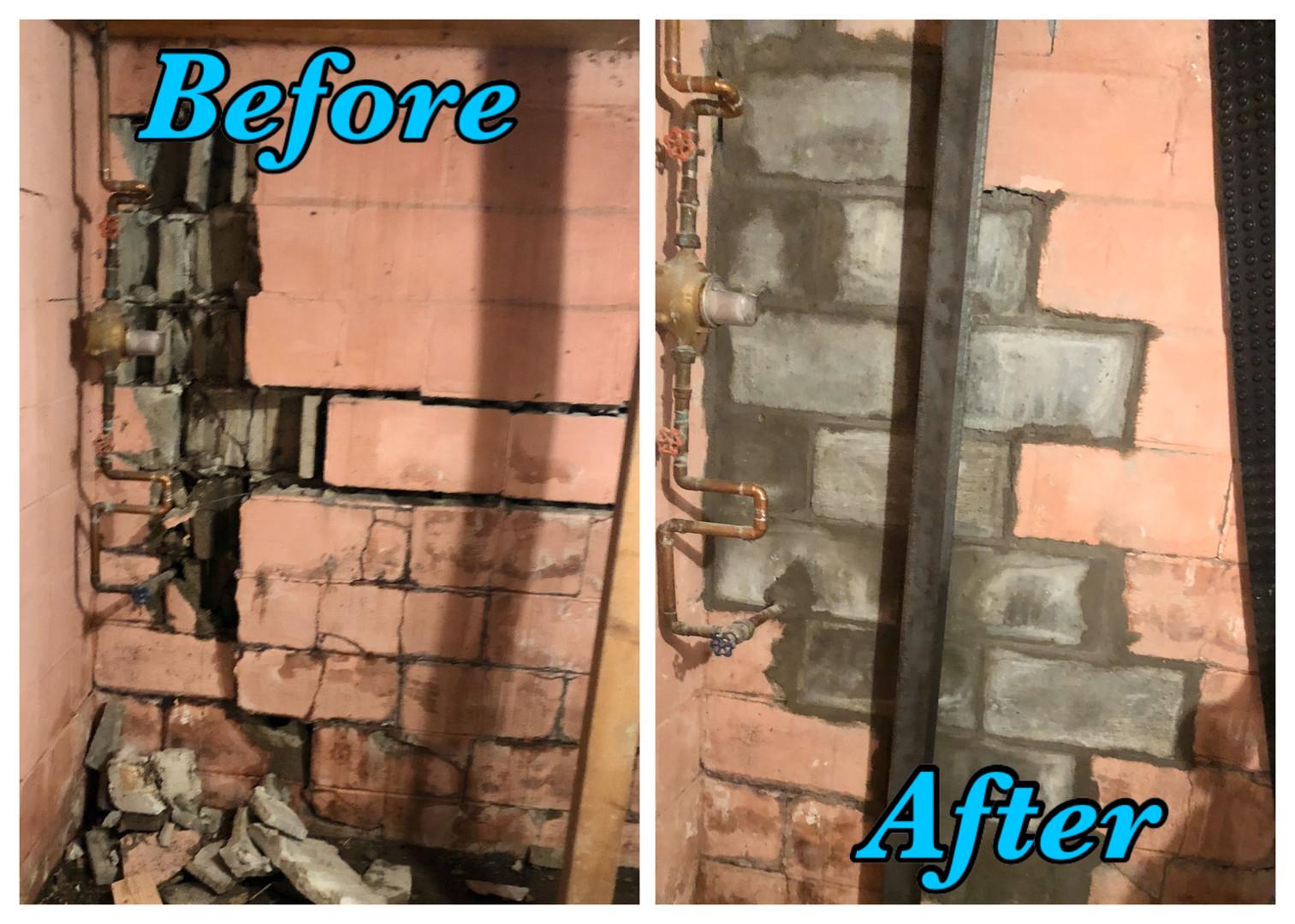 Wall falling apart repaired