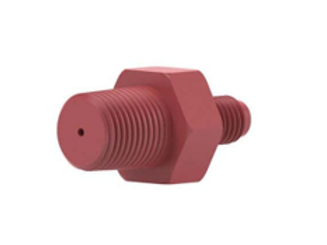 Threaded Adapter Red 0.0062Id,1/4-28 Flat bottom (M) to 1/8/NTP (M)