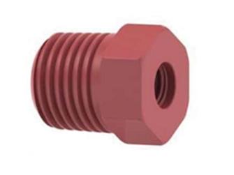 Threaded Adapter, Red/Natural peek, 0.062 id 1/4-28 Flat bottom (F) 1/4 NTP (M)