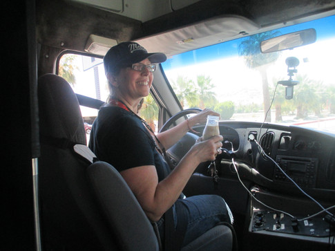 """Founder and Executive Director of the VMMEPP, Rachel Tillman, driving """"Buster"""" the Viking Mars Mobile.  Photo credit: (c) The Viking Mars Missions Education & Preservation Project (VMMEPP)."""