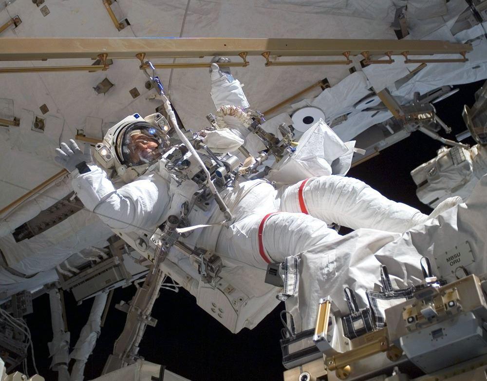 NASA astronaut Clayton C. Anderson during a spacewalk (EVA) outside the International Space Station.  Photo credit: NASA.