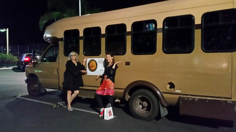 """(L-R): Dr. Penny Boston (one of the founders of the Mars Underground) and Dr. Melissa Guzman (who did her advanced studies and internship working on Viking GCMS data) with """"Buster"""" the Viking Mars Mobile.  Photo credit: (c) The Viking Mars Missions Education & Preservation Project (VMMEPP)."""