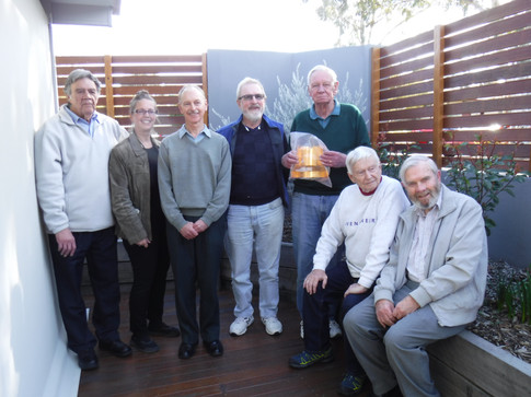 Rachel Tillman (second from left) with a handful of surviving Vikings who ran the Deep Space Network in Canberra Australia.  Photo credit: (c) The Viking Mars Missions Education & Preservation Project (VMMEPP).