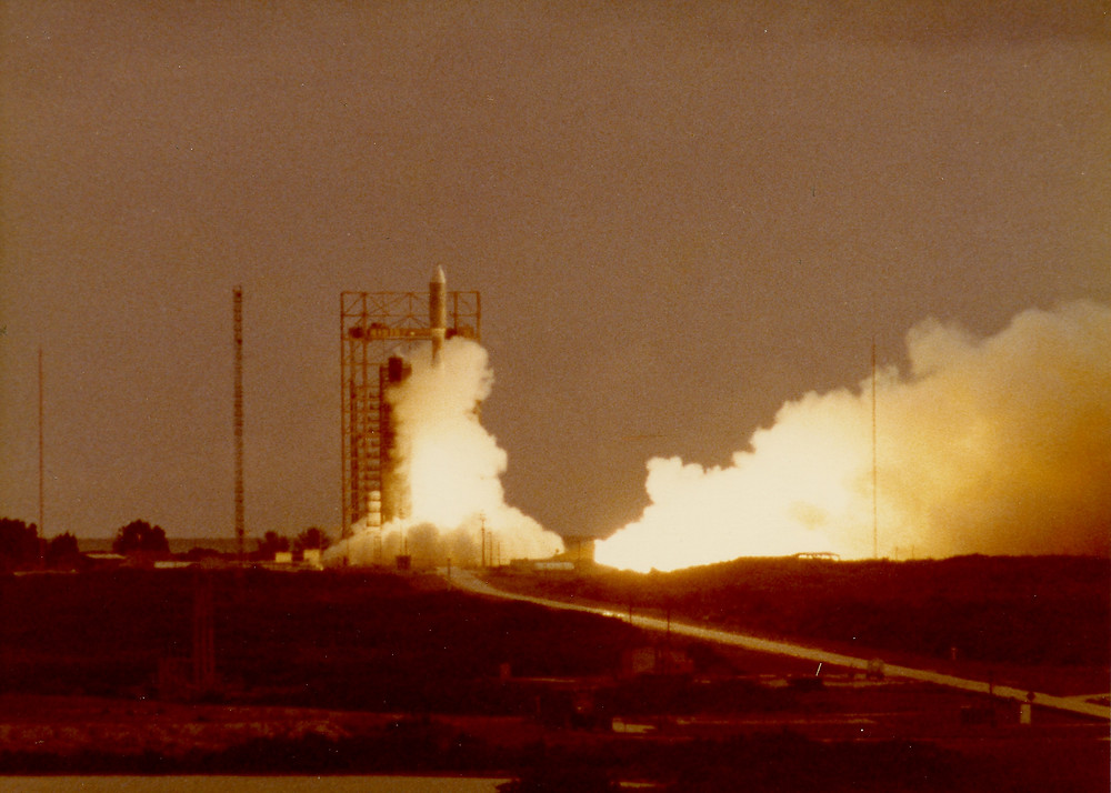 Titan rocket launching NASA's Viking 1 spacecraft on August 20,1975 from Complex 41 at Cape Canaveral Air Force Station in Florida.   Photo credit: © The Viking Mars Missions Education & Preservation Project (VMMEPP) and NASA.