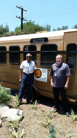 """(L-R): Prem Menon and Rob Manning at JPL with """"Buster"""" the Viking Mars Mobile.  Photo credit: (c) The Viking Mars Missions Education & Preservation Project (VMMEPP)."""